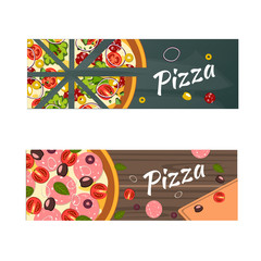 Realistic Pizza flyer vector background.
