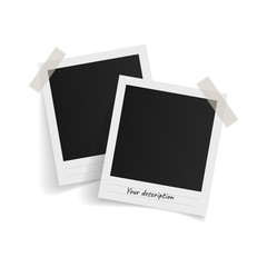 Polaroid photo frames on sticky tape on white background. Vector illustration.