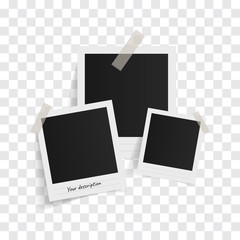 Polaroid photo frames on sticky tape on a transparent background. Vector illustration.