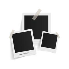 Wall Mural - Polaroid photo frames on sticky tape on white background. Vector illustration.