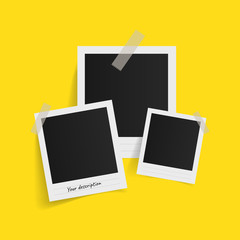 Polaroid photo frames on sticky tape on yellow background. Vector illustration.