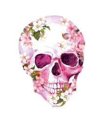Human skull with flowers. Watercolor