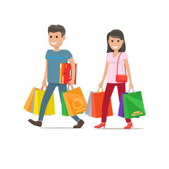 Couple Goes Shopping. Man and Woman Characters
