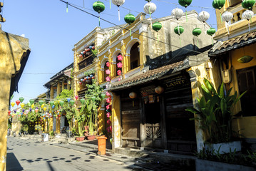 scenes of the street of the city of Hoi An in Vietnam.
