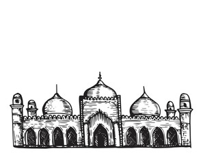 Vintage Hand Drawing Islamic Mosque Sketch Building