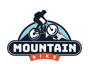 Vintage Extreme Downhill Mountain Bike Emblem Badge Illustration