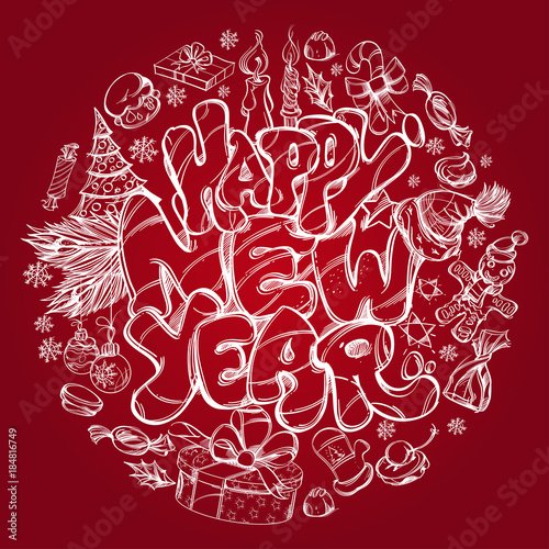Happy New Year Hand Drawn Outline Illustration With Text And New