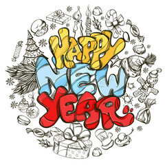 Happy New Year. Hand drawn outline illustration with text and New Year symbols for greeting cards, posters, invitations and other items.