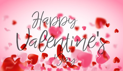 Love valentine's background with hearts. Happy Valentines Day Background with 3D Realistic Red Hearts. Valentine's day abstract background.
