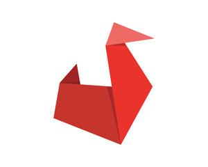 Cute Japanese Origami Paper Art Swan Illustration