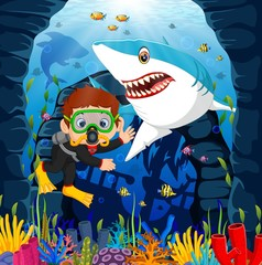 Cartoon boy diving in the sea with shark