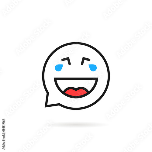 thin line cry and laugh emoji speech bubble logo