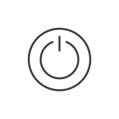 Power switch line icon, outline vector sign, linear style pictogram isolated on white. On/Off button round symbol, logo illustration. Editable stroke
