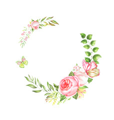 Floral watercolor wreath