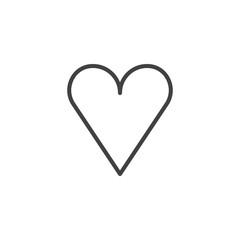 Love heart line icon, outline vector sign, linear style pictogram isolated on white. Favorite symbol, logo illustration. Editable stroke
