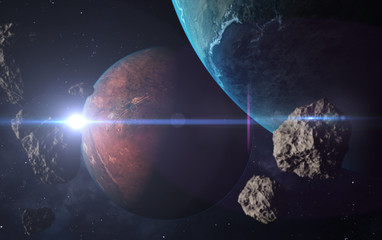 Unknown planets. 3D Illustration