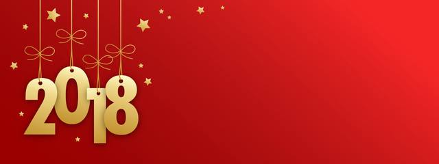 2018 Gold Suspended on Red Background