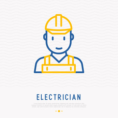 Electrician thin line icon. Modern vector illustration of professional occupation.