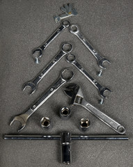 Christmas tree of spanners and screws.