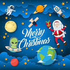 Cute Space Theme Merry Christmas And Happy New Year Paper Art Card Illustration