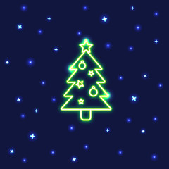 Neon Christmas tree icon in line style