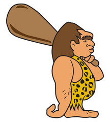 Knuckle dragging cartoon caveman is carrying a huge wooden club