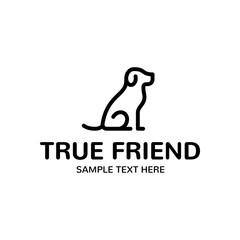 True Dog Friend Vector Logo Template