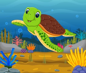 Cartoon turtle underwater