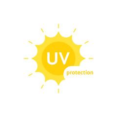 yellow uv protection logo on white