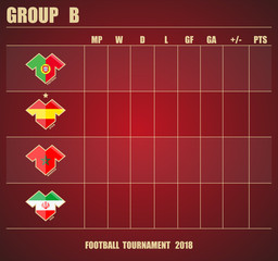 Vector illustration. Football / soccer tournament. Group stage of the championship, group B table of results. Sports T-shirt