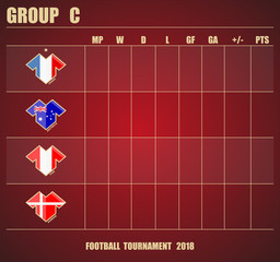 Vector illustration. Football / soccer tournament. Group stage of the championship, group C table of results. Sports T-shirt