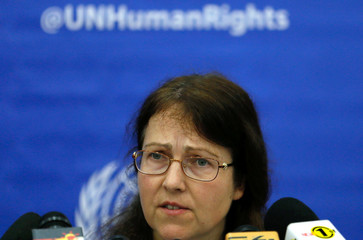 Leigh Toomey member of the United Nations Working Group on Arbitrary Detention speaks at the end of the mission news conference in Colombo