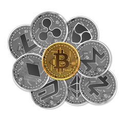 Set of gold and silver crypto currencies with golden bitcoin on top of other crypto currencies as leader isolated on white background. Vector illustration. Use for logos, print products