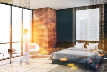 Brick and wooden bedroom corner, poster toned