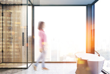 Panoramic bathroom, tub and shower blur
