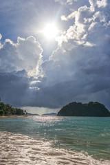 Las Cabanas beach stormy weather in Palawan island, Philippines