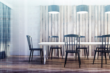 White and wooden dining room, black chairs toned