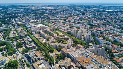 Aerial top view of Montpellier city skyline from above, Southern France