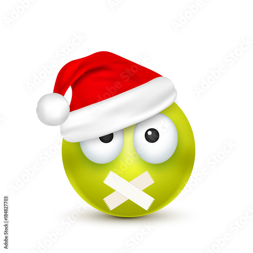 smileyemoticon green emoji face with emotions and christmas hat new year - Christmas Smiley Faces
