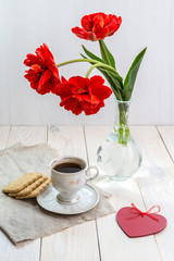 Morning coffee with tulips