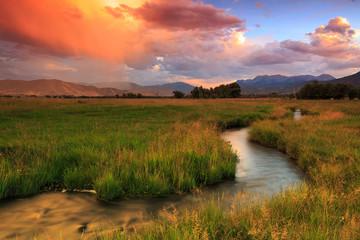 Wall Mural - Sunset stream in rural Utah, USA.