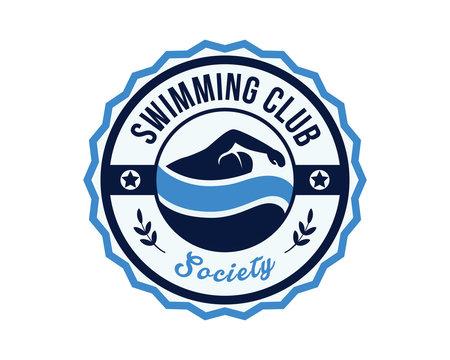 Modern Swimming Sports Club Badge Logo