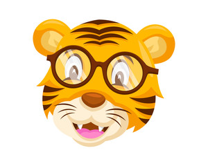 Cute Geek Tiger Face Emoticon Emoji Expression Illustration