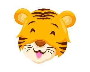 Cute Happy Tiger Face Emoticon Emoji Expression Illustration