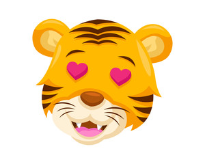 Cute Falling In Love Tiger Face Emoticon Emoji Expression Illustration