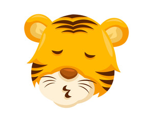 Cute Whistling Tiger Face Emoticon Emoji Expression Illustration