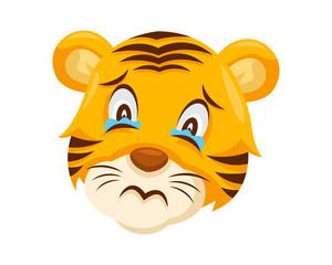 Cute Sad Tiger Face Emoticon Emoji Expression Illustration