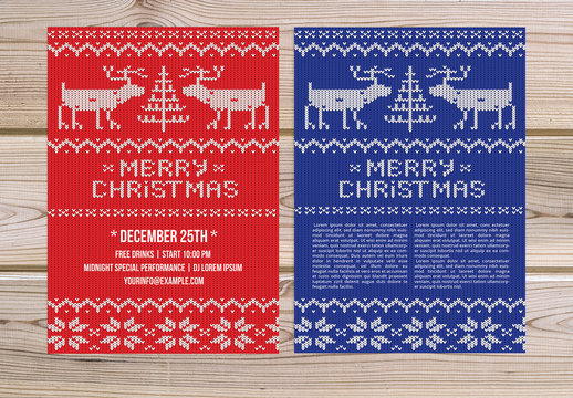 Christmas Flyer with Knit Sweater Background