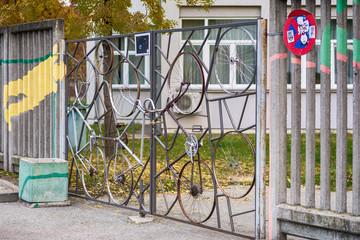 Novi Sad, Serbia November 01, 2016: door made of bicycle wheels