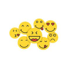set of yellow emoji like crowd of people